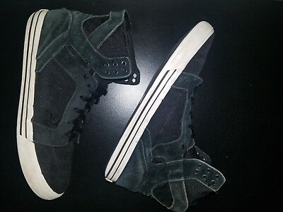 Supra Skytop Mens Black Canvas High Top Lace Up Sneakers Shoes Size 11