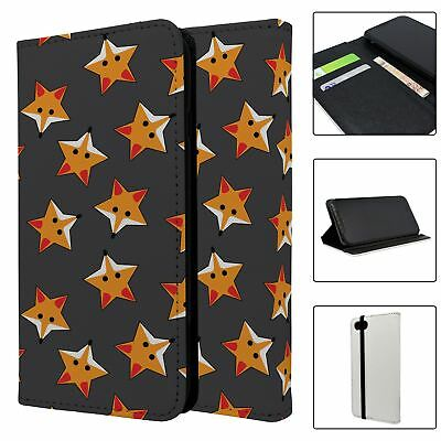 PHONE FLIP WALLET CASE COVER FOXES STARS GREY PATTERN S974