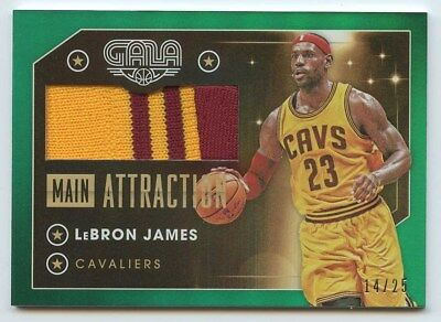 Lebron James 2015 16 Panini gala main attraction game-worn 2 color patch 1425