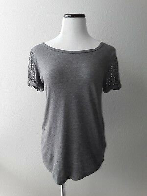 Forever 21 Womens Grey Cotton Blend Embellished Top Short Sleeve Blouse S