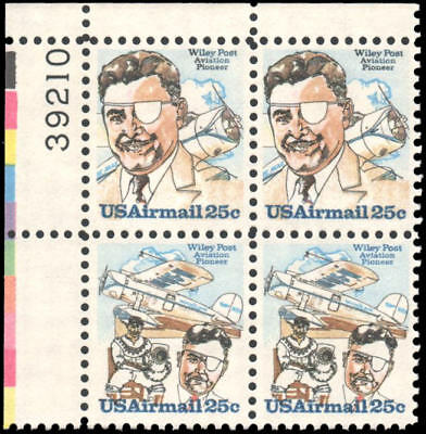 US C95-C96 MNH plate block of 4 25c airmail Wiley Post