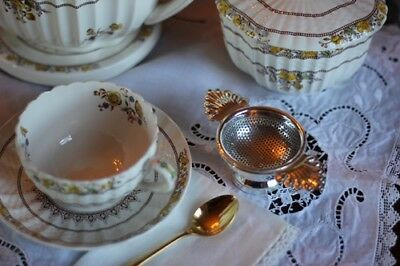 Tea Strainer Silver Plated w Drip Bowl Antique Reproduction Chelsea