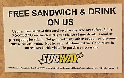 10 Subway Sandwich Free Combo Foot Long Meal Vouchers NO EXPIRATION Great Gift