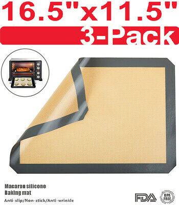 3 Set Liner Sheet Silicone Baking Mat Non Stick Heat Resistant Oven Mats Toaster
