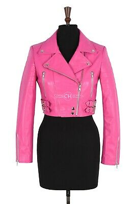 MISSY PINK CROPPED LADIES BIKER FASHION REAL SHEEP NAPPA LEATHER SHORT JACKET