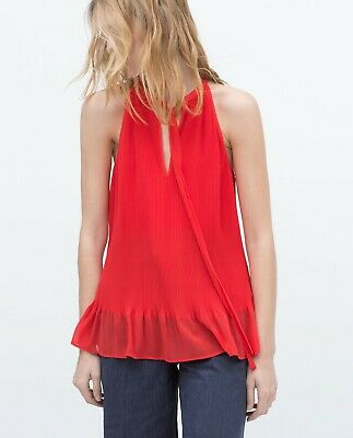 Zara Red Tie Neck Tank Top Blouse Size S Small