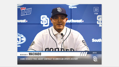 2019 TOPPS NOW CARD 1st CARD w SAN DIEGO PADRES MANNY MACHADO ST-1 FA SIGNING