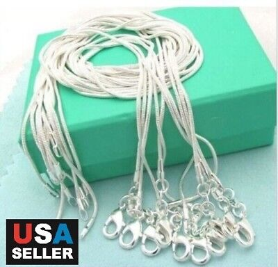 5pcslot Stunning 925 Sterling Silver Snake Chain Necklace 1mm 18 20 22 24