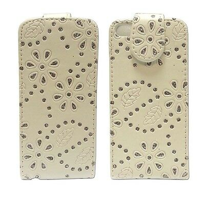 Case For Apple iPhone 5C Glitter Flip Bling White PU Leather Pouch Phone Cover
