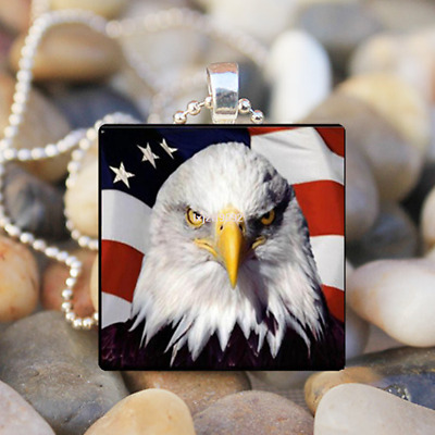 PATRIOTIC BALD EAGLE American Flag Fourth of July Bird Glass Pendant Necklace10