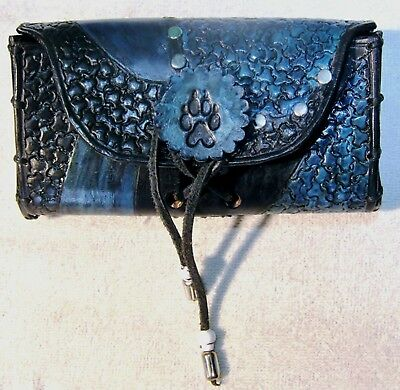 Black n Teal Wolfspaw Concho Smartphone Handtooled Leather Faire Fashion Pouch