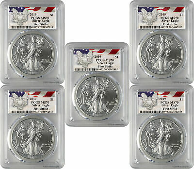 2019 1 American Silver Eagle PCGS MS70 First Strike - Eagle Label Lot of 5