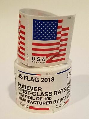 100 Stamps for 43-99  USPS Forever 1st Class Postage-  US Flag 2018