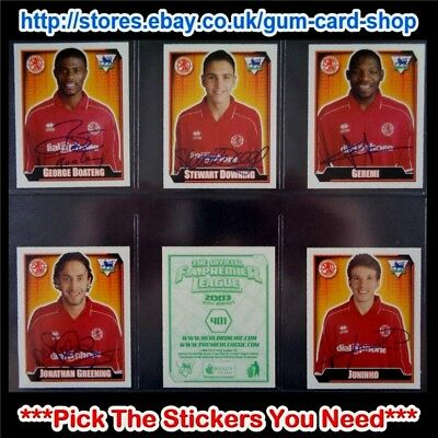 MERLIN PREMIER LEAGUE 2002 2003 400 TO 499 SELECT THE AUFKLEBER YOU NEED