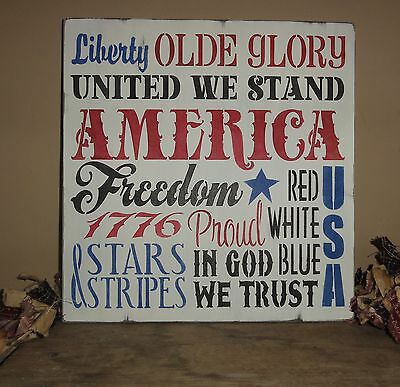 4th Fourth of July Independence Day America Red White and Blue Sign Decoration