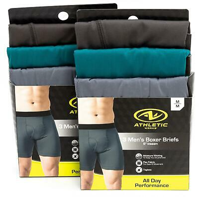 ATHLETIC WORKS 6 Pair Mens Boxer Briefs