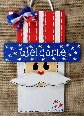AMERICANA Welcome UNCLE SAM SIGN 4th of July Deck Porch Wall Door Hanger Plaque