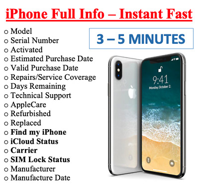 FAST iPhone info Check - IMEI SimlockCarrier Find My Iphone Blacklist Status