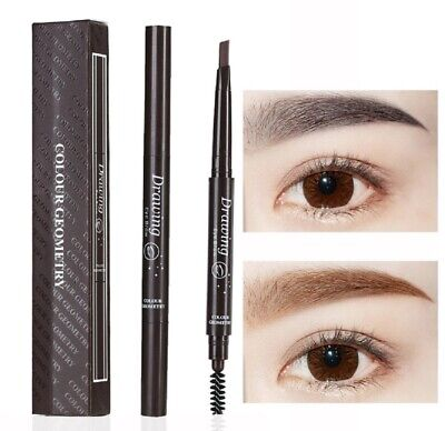 2 Pack Eyebrow Pencil Retractable Slant Tip with Brush Double-end Waterproof US