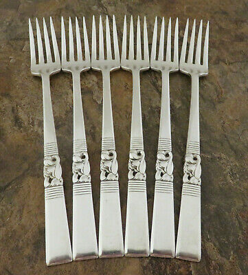 Oneida Morning Star Set of 6 Grille Forks Community Silverplate Flatware Lot B