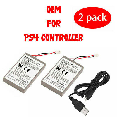 2x Rechargeable Battery for PS4 Controller 2000mAh Replacement - Charging Cable