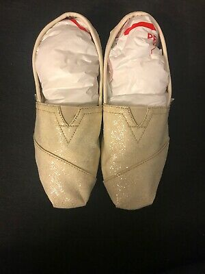 Toms Womens Cream Glitter Slip On Shoes Sz W6-5