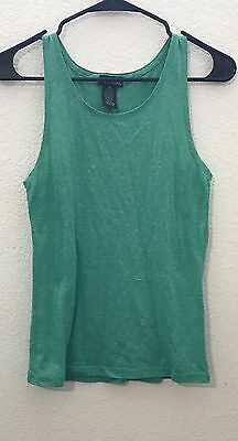 WET SEAL WOMEN SLEEVELESS SOLID GREEN AND WHITE SPECKS TANK OR CAMI MEDIUM