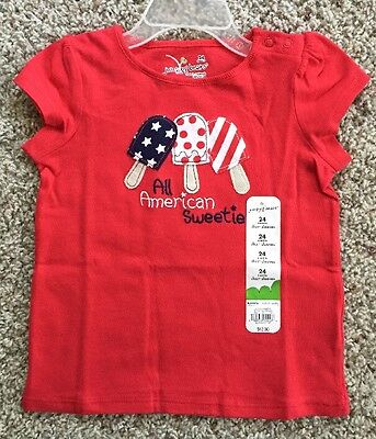 NEW Girls AMERICAN SWEETIE Size 24 Months Red White Blue Top 4th of July T-shirt
