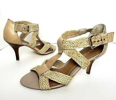 Aldo Size 8 Natural Sandal Heels Tan Leather Woven 3 Stacked wood Straps GUC