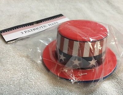 3pc Patriotic USA 4th Of July Glitter Party Hats Red White Blue Brand New
