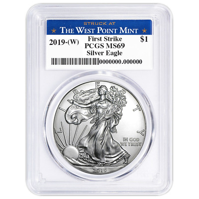 2019 W 1 American Silver Eagle PCGS MS69 First Strike West Point Label