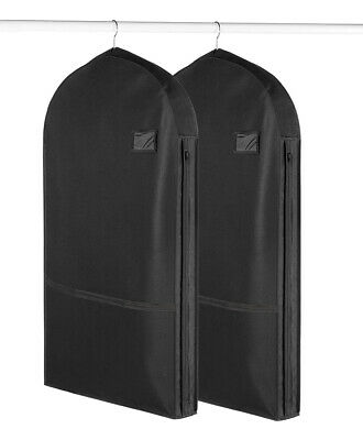2pk Deluxe Garment Bags With Pockets For Storage Travel Suits Dresses Uniforms