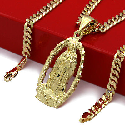 Mens 18k Gold Plated Hip Hop HOLY MARY  Pendant 5mm 24 Cuban Necklace Chain