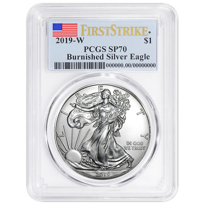 2019-W Burnished 1 American Silver Eagle PCGS SP70 First Strike Flag Label