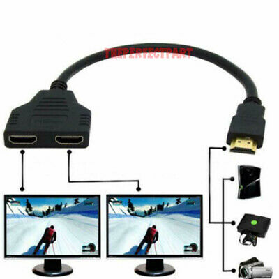 HDMI Port Male to Female 1 Input 2 Output Splitter Cable Adapter Converter 1080P