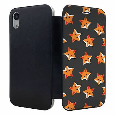 IPHONE FLIP WALLET CASE COVER FOXES STARS GREY PATTERN S974