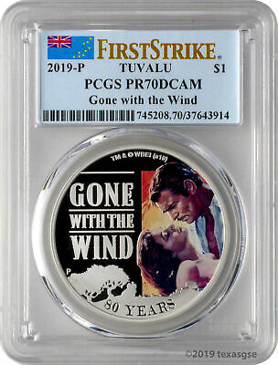 2019-P 1 Tuvalu Gone with the Wind 1oz 9999 Silver Proof Coin PCGS PR70DCAM FS