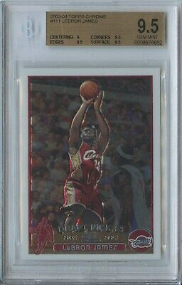 Lebron James 2003 04 Topps Chrome 111 Cavs RC Rookie BGS 9-5 Breakers-Rowe