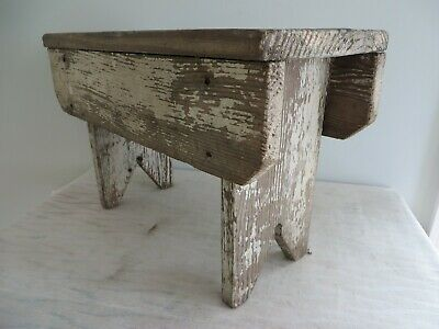 Vintage Milk Milking Stool Foot Bench Rustic Country Primitive Decor Distressed