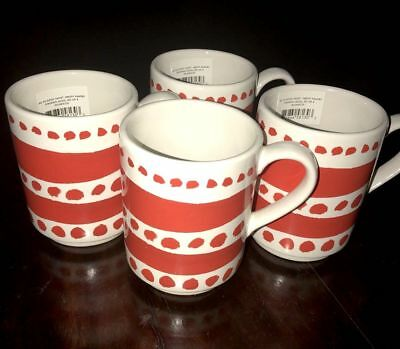 NWT Kate Spade New York Pretty Pantry Stackable Coffee Cups Set Of 4 Red