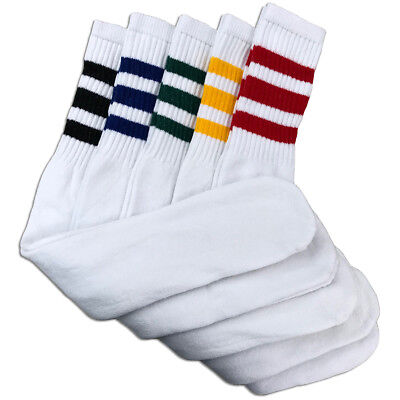 5 Pairs Mens White Tube Socks w Assorted Stripes Heavy Cotton - 24 Inches