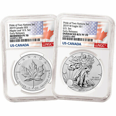 2019 Pride of Two Nations 2pc- Set U-S- Set NGC PF70 ER Flags Label