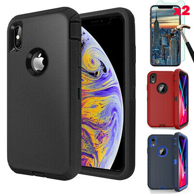 For Apple iPhone XR 12 Pro Max Case Cover Hybrid Rugged Hard - Screen Protector