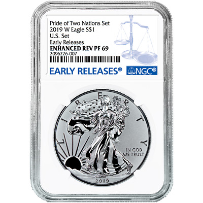 2019-W Reverse Proof 1 American Silver Eagle NGC PF69UC Blue ER Label Pride of