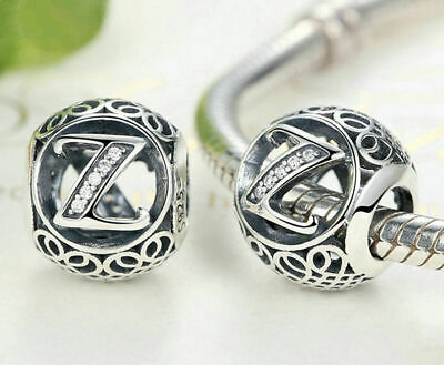 Hot Letters Z European Silver CZ Charm Beads Fit sterling 925 Bracelet Chain