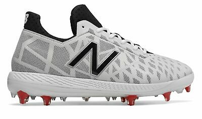 New Balance Low-Cut COMPv1 TPU Baseball Cleat Mens Shoes White with Black - Red