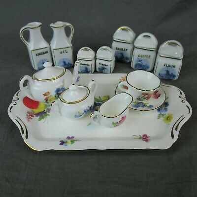 Porcelain Miniature Tea Set Spice Jars Oakley China England Vintage Fine Bone