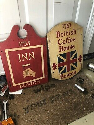 Primitive Wooden Sign  Tavern Sign And Coffee House Boston Very Rare