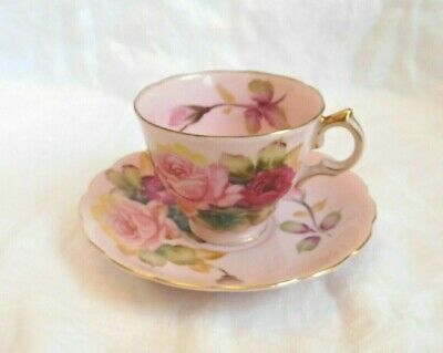 60s Vintage Hand Painted Lefton PINK Tea Cup - Saucer Set Roses-Gold