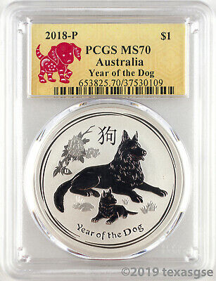 2018-P 1 Australia Year of the Dog 1oz Silver Coin PCGS MS70